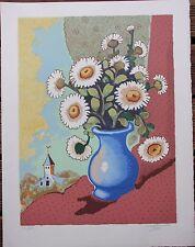 Madeleine LUKA - Lithographie signée numérotée bouquet nature morte **