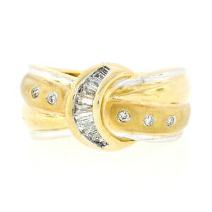 High Quality 18k TT Gold 0.48ctw Round & Baguette Diamond Wide Buckle Band Ring