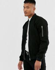 ASOS Men's Classic M-13 Pocket Zipper Pocket Black Bomber Jacket Coat Size XXS