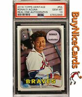 2018 Ronald Acuna Topps Heritage Real One SP RC Rookie Blue Auto #RA PSA 10