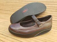 Women size 9.5 MBT Sirima Mary Jane Brown Leather Rocker Toning Walking Shoes