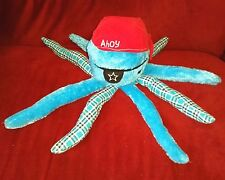 Gund DOWN BY THE SEA OLLIE Pirate Octopus 16in Blue Plush Red Cap Eye Patch