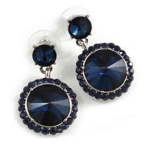 Dark Blue Crystal Round Drop Earrings In Rhodium Plating - 35mm Long