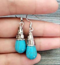 Boho Ethnical Jewelry Silver Turquoise Stone Dangle Tear Hook Drop Earrings new