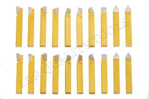 "20PC 3/8"" CARBIDE TIP TIPPED CUTTER TOOL BIT CUTTING SET FOR METAL LATHE TOOLING"