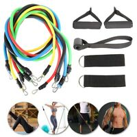 11 PCS Fitness Resistance Band Set Yoga Pilates Abs Exercise Tube Workout Bands