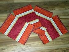 "4pc Damask Fabric Placemats~18"" x 13""~Place Mats~Red/Orange~NEW"
