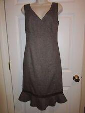 Hennes (H & M) Sz 6 Brown Tweed Sleeveless  Dress, Crochet Trim, wrap Career