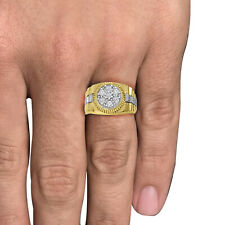 Men's 10K Real Solid Yellow Two Tone Gold Simulated Diamond Cocktail Ring