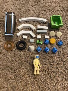 Vintage 1980's Fisher Price Construx Building Toy Lot Tires Figure Pieces Parts