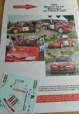 DECALS 1/43 REF 1003 RENAULT MEGANE MAXI MANZAGOL FINALE RALLYE 2005 RALLY WRC