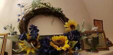 Sunflower Summer Grapevine Wreath with Green Leaves Blue Yellow Flowers