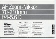 NIKON Nikkor AF 70-210mm f 4/5,6 D Libretto di istruzioni  originale in italiano