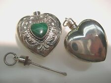 Sterling Silver Heart shape perfume bottle vintage engraving design w/ Malachite