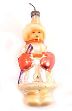 BOY IN GLOVES Russian Soviet Christmas Glass Ornament Decoration 50s