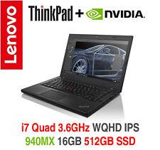 ThinkPad T460p i7 Quad 3.6GHz nVIDIA 940MX WQHD IPS 16GB 512GB On-Site Warranty