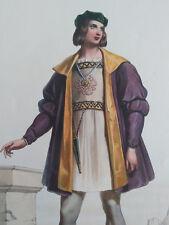 ACHILLE DEVERIA 1800-1857 COLORFUL XXL LITHOGRAPHY GENTILHOMME ANGLAIS AU XIV SI
