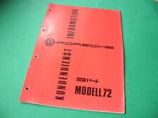 VW-Porsche 914 Modell 1972 Kundendienst Information Leitfaden Handbuch Vopo