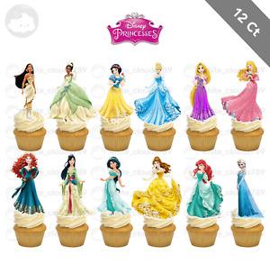 12 Disney Princess Ariel Belle Aurora Cupcake Cake Topper Favor Girl Kid Party