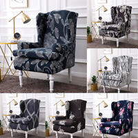Floral Print Wing Chair Covers Stretch Recliner Slipcover Furniture Protector