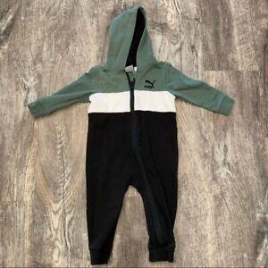 Baby Puma Black & Green Color Block Footies 12M
