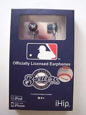 Milwaukee Brewers iHip Logo Baseball Earbuds Ear Head Phones  New Never Used