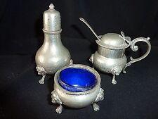 English Pewter Cruet Set Blue Glass Liner Salt & Pepper