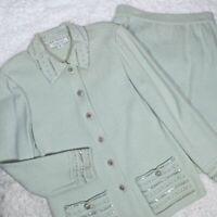 St John Marie Gray Evening Embellished Skirt Suit