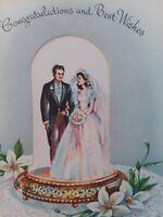 Vtg BRIDE & GROOM Peek Window Embossed Lace WEDDING GREETING CARD