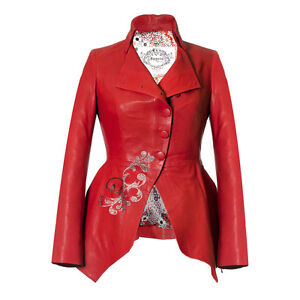 Women's Red Leather Peplum Tailored Jacket Made with Swarovski Crystals Impero