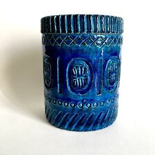 Pol Chambost / Grand pot couvert en grès vernissé bleu à motifs incisés 1960's