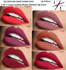 Matte Lipstick Waterproof DUEL Pencil Pen Lip Liner  Set Long Lasting  MAKEUP