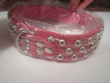 """New Pink Faux Leather Dog Collar with Studs - Size Small Fits 16.5"""" - 19.5"""" Neck"""