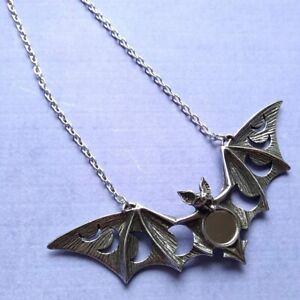 New Alchemy Gothic Pewter Lunaeca Large Bat Moon Mirror Pendant Necklace UK Made