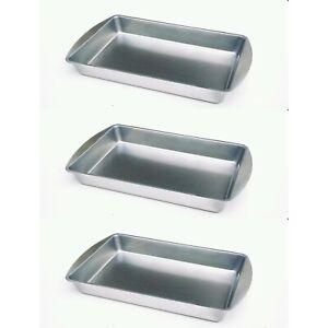 3 Baking Trays tin tins tray NON Stick  Brownie Cake oven roasting SILVER STEEL