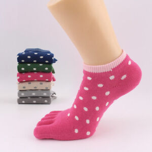 5 Pairs Womens Cotton Toe Socks Five Finger Socks Casual Sports Ankle Low Cut