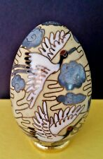 """EUC VINTAGE 20s-30s CHINESE Enameled Brass CLOISONNÉ 3"""" EGG FLYING CRANES Clouds"""