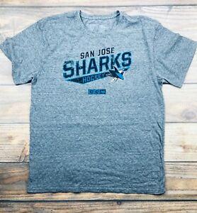 San Jose Sharks NHL CCM Distressed Print Tri-Blend Gray T-Shirt, NWT Men's 2XL