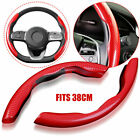 Carbon Fiber Red Universal Car Steering Wheel Booster Cover Non Slip Accessory