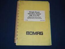 Bomag Bw 213 Pd Vibranti Roller Operazione & Cura Libro Manuale