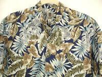 Tori Richard Shirt Blue Tan Tropical Leaves Hawaiian Camp Aloha Lawn USA Sz L