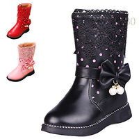 Kids Girls Winter Mid Calf Snow Boots Flat Heel Zipper Faux Leather School Shoes
