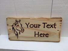 Handmade Personalised Rustic Wooden Pony Horse Stable Child's Room Sign Plaque