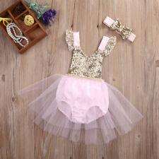 Birthday Ballerina Pink & Gold Sequin TuTu Romper & Headband SET