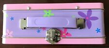1998 Barbie Metal  Lunch Box  Flower Power only one on eBay, Purple Handle pink