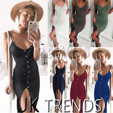 UK Women Holiday V Strappy Bodycon Split Ladies Summer Beach Maxi Dress Size6-14