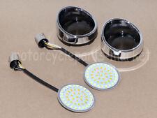 2'' 1157 Bullet White/Amber LED Turn Signal Inserts w/ Chrome Lens Visor Harley