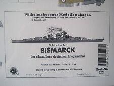 Bismarck Schlachtschiff Wilhelmshavener Modellbaubogen Bastelbogen Kartonmodell
