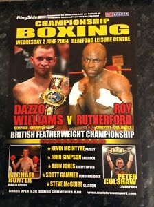 2004 Dazzo Williams Vs Roy Rutherford British title boxing programme