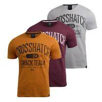 Mens Crosshatch T-Shirt Graphic Short Sleeved Crew Neck Tee Tshirt